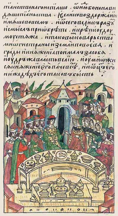 Лицевой летописный свод Ивана IV Грозного. 6849 (1349). Мудрый Ольгерд Гедиминович ¬– Фрагмент 2