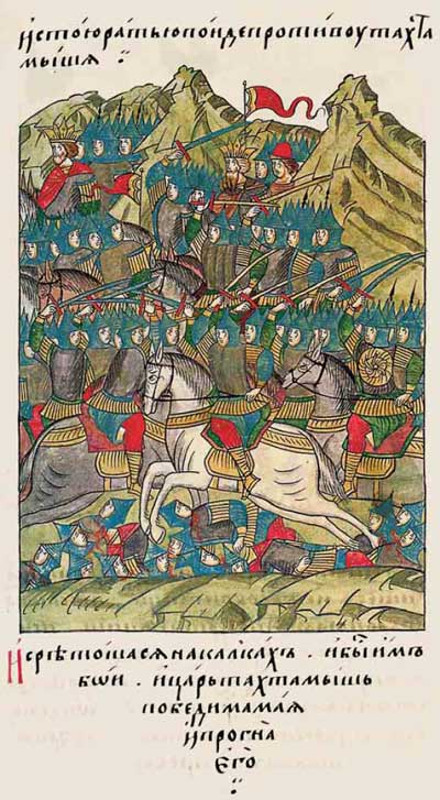 Лицевой летописный свод Ивана IV Грозного. 6889 (1389). Тохтамыш против Мамая – битва на Калке