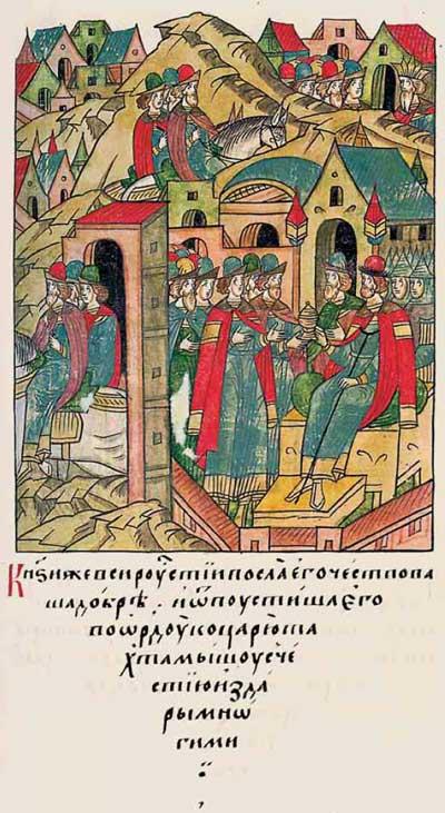 Лицевой летописный свод Ивана IV Грозного. 6889 (1389). Судьба Мамая –  Эпизод 1