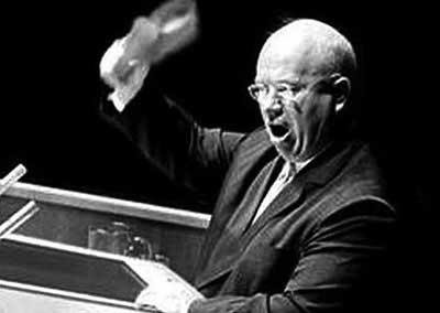 Н.С. Хрущёв на трибуне ООН