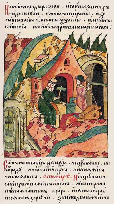 Лицевой летописный свод Ивана IV Грозного: О Тамерлане – фрагмент 1