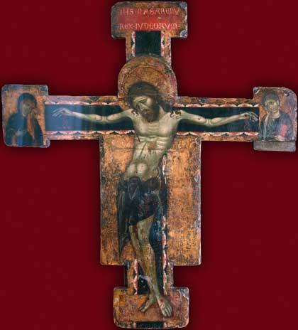 Крест с изображением распятия, около 1270 г. // Уголино ди Тедиче; Италия; дерево; темпера; 90х62 см. Государственный Эрмитаж; http://www.hermitagemuseum.org