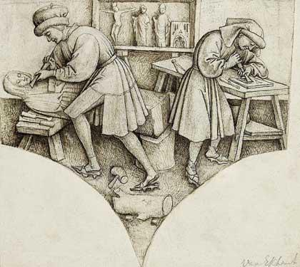 Мастерская скульптора, XV в. // Франк ван дер Стокт,  Нидерланды. Государственный Эрмитаж; http://www.hermitagemuseum.org
