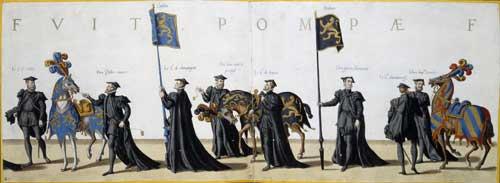 Погребальное шествие в Брюсселе по случаю кончины императора Карла V. Лист 8-9, 1559 // Ян ван Дойтекум (Дойтекюм), Фландрия; бумага, офорт, оттиск с досок, шир.24 см, общая длина 1100,6 см. Государственный Эрмитаж; http://www.hermitagemuseum.org