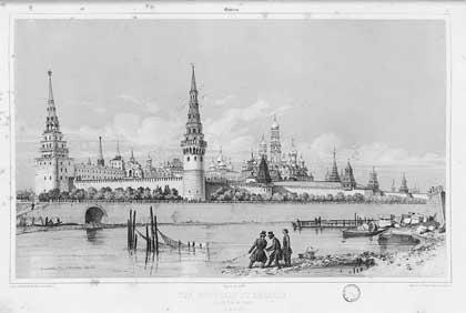 Москва. Рыбалка у стен Кремля, 1839. Андре Дюран