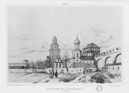 Андре Дюран. Новгород. Крепостные стены, 1839