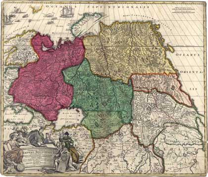 Россия, 1704. 1704. Карта Иоганна Гоманна // Сайт Петра Власенко, http://ua.vlasenko.net/